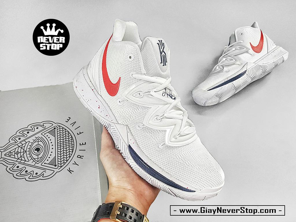 Giày Kyrie 5 Trắng Đỏ chuyên bóng rổ hàng chuẩn sfake giá tốt NeverStopShop
