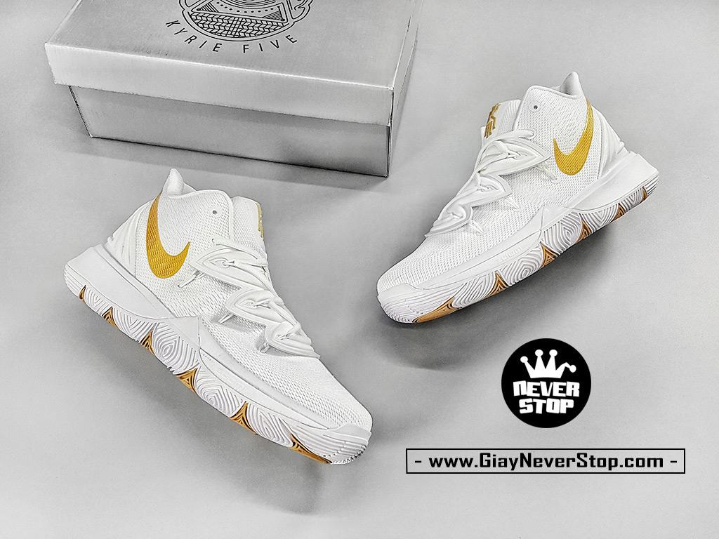 Giày Kyrie 5 Trắng Vàng chuyên bóng rổ hàng chuẩn sfake giá tốt NeverStopShop