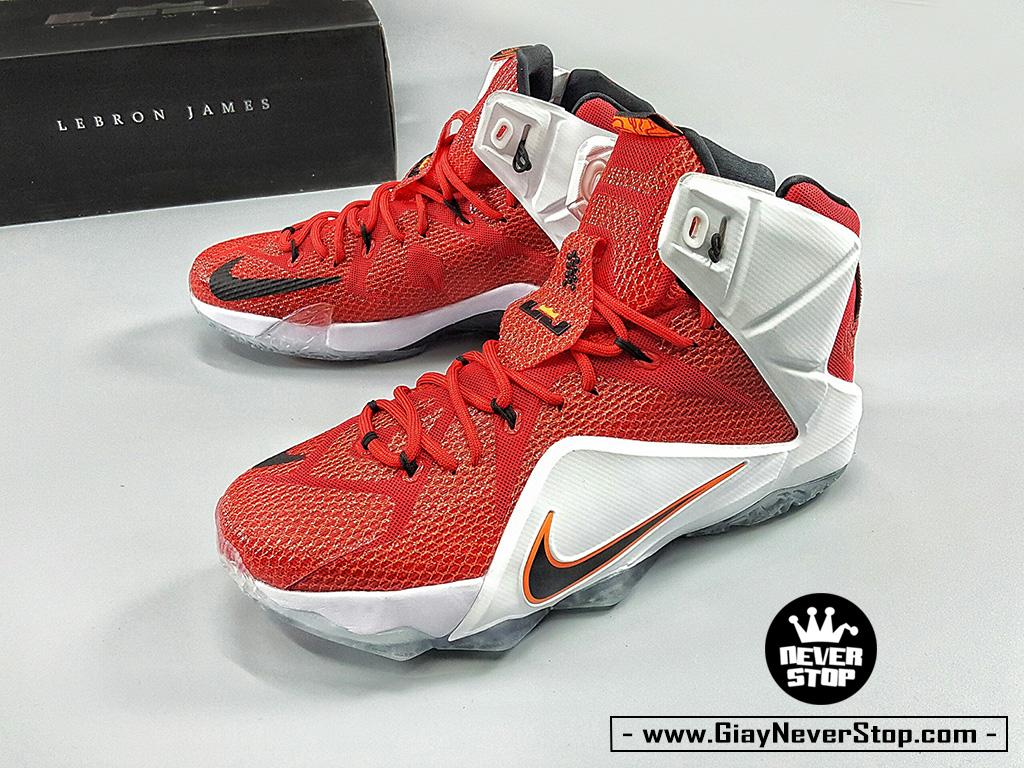 Giày Lebron 12 đỏ trắng bóng rổ nam cổ cao sfake chính hãng giá rẻ HCM