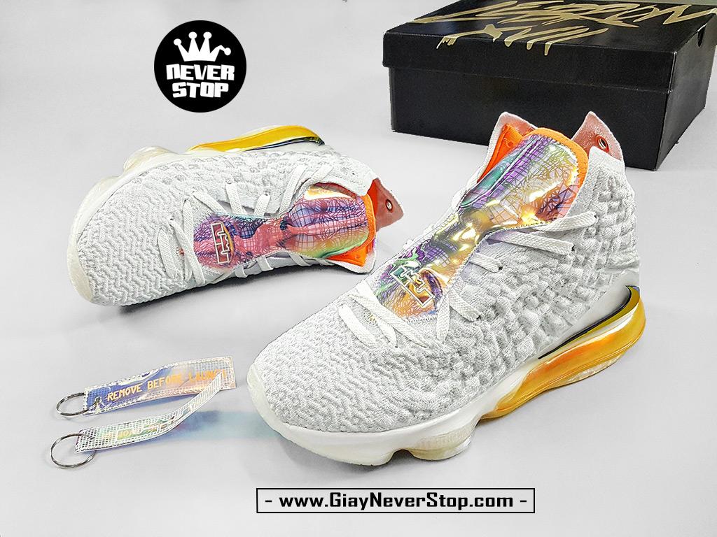 Giày Lebron 17 trắng cam chuyên bóng rổ chuẩn replica 1:1 real giá tốt HCM